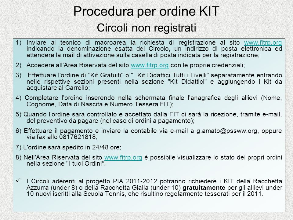 Procedura per ordine KIT Circoli non registrati