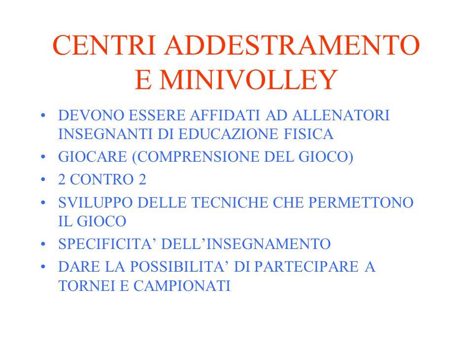 CENTRI ADDESTRAMENTO E MINIVOLLEY