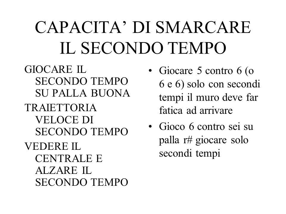 CAPACITA' DI SMARCARE IL SECONDO TEMPO