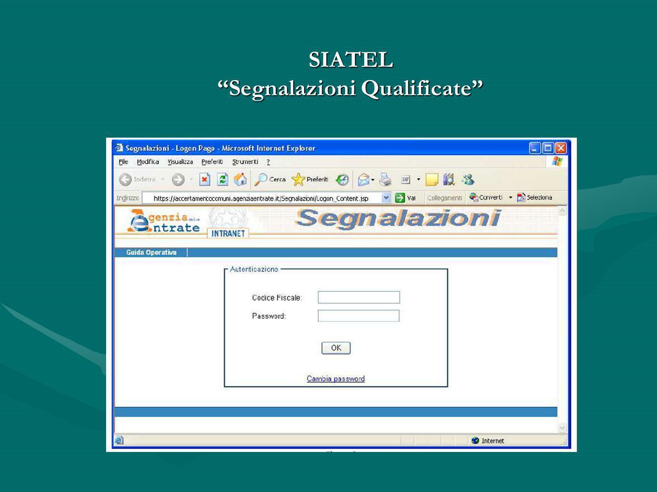 SIATEL Segnalazioni Qualificate
