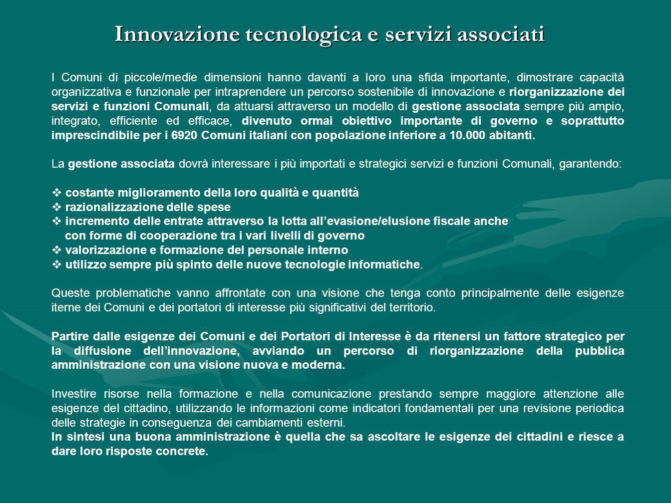 Innovazione tecnologica e servizi associati