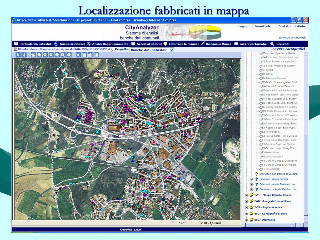 Localizzazione fabbricati in mappa