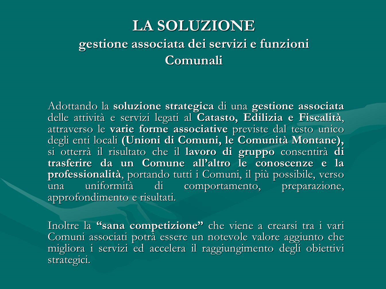 LA SOLUZIONE gestione associata dei servizi e funzioni Comunali
