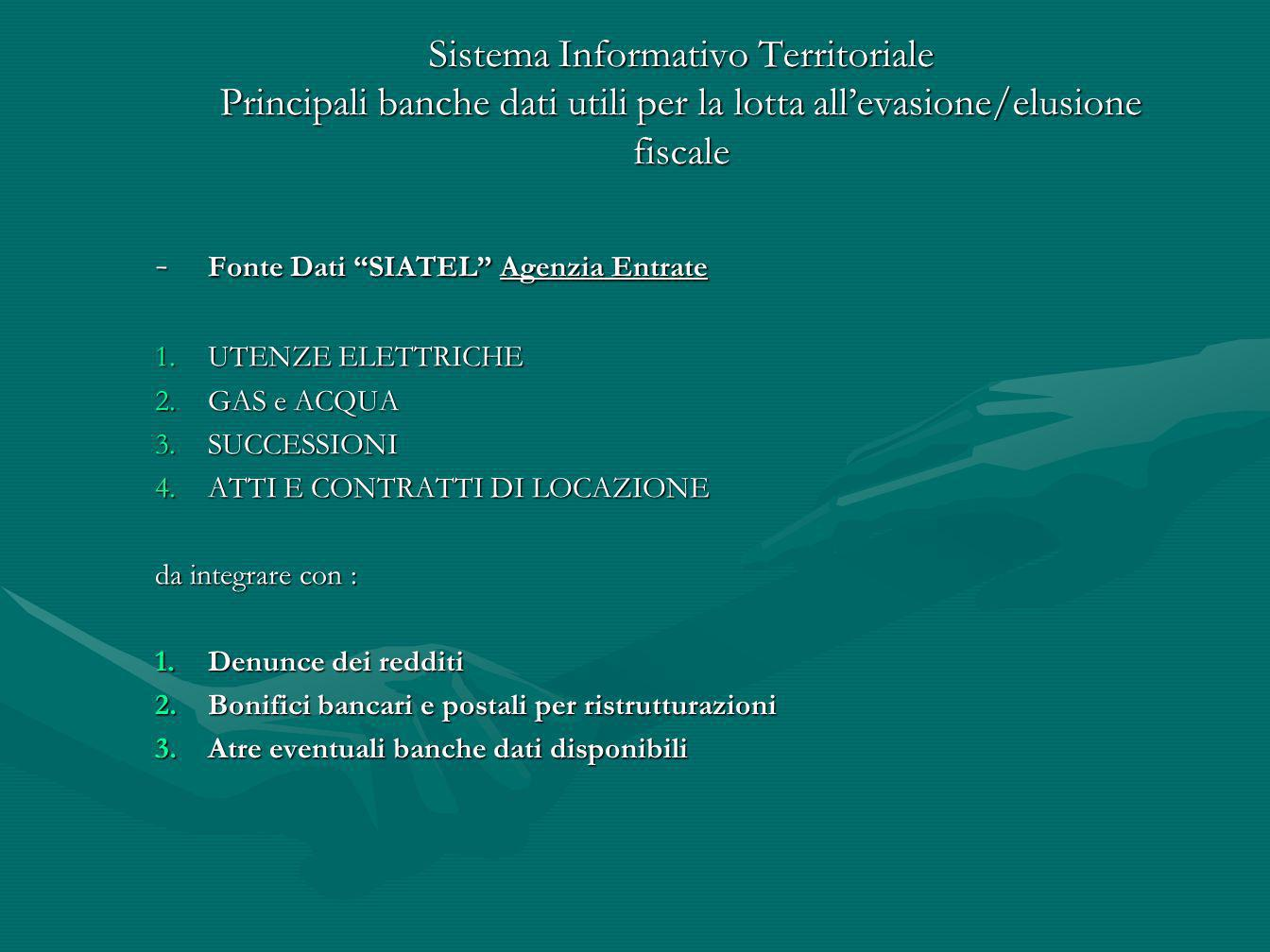 - Fonte Dati SIATEL Agenzia Entrate