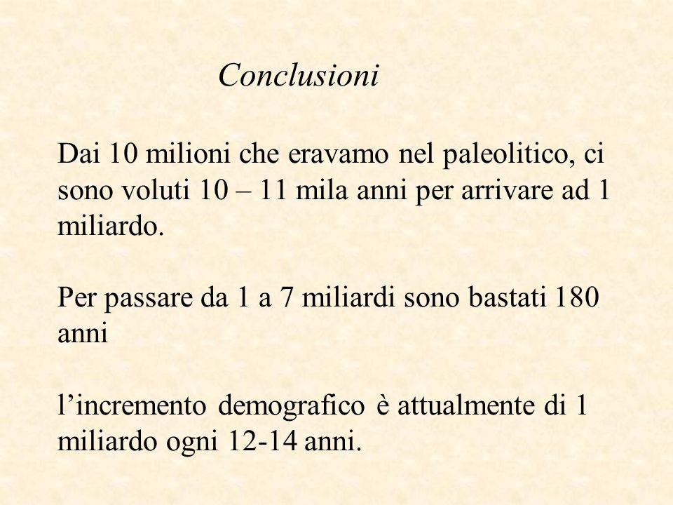Conclusioni Dai 10 milioni che eravamo nel paleolitico, ci sono voluti 10 – 11 mila anni per arrivare ad 1 miliardo.