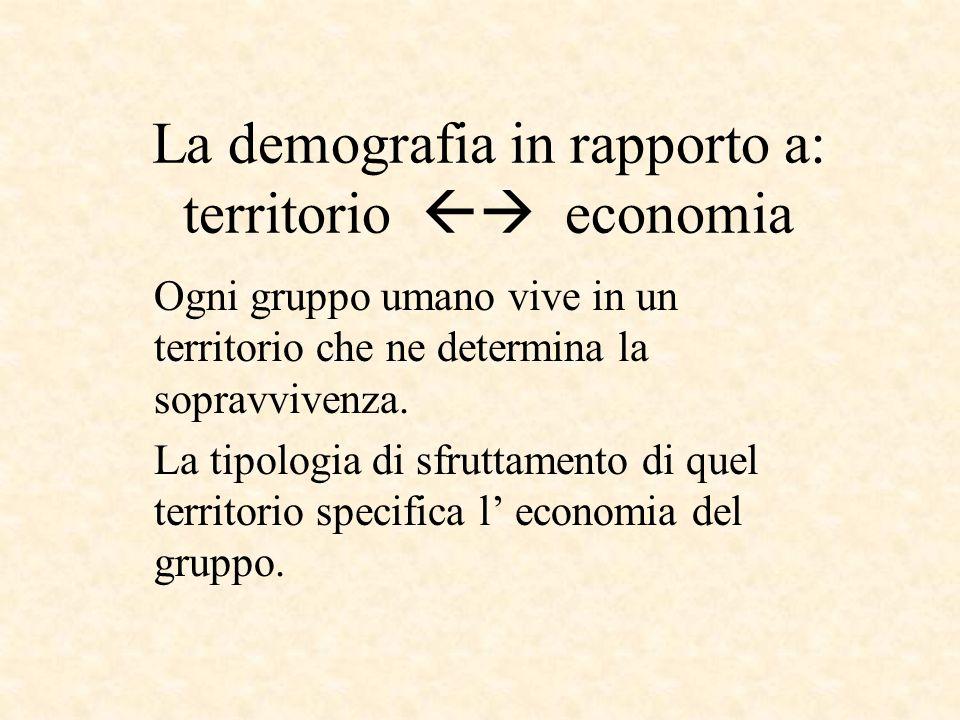 La demografia in rapporto a: territorio  economia