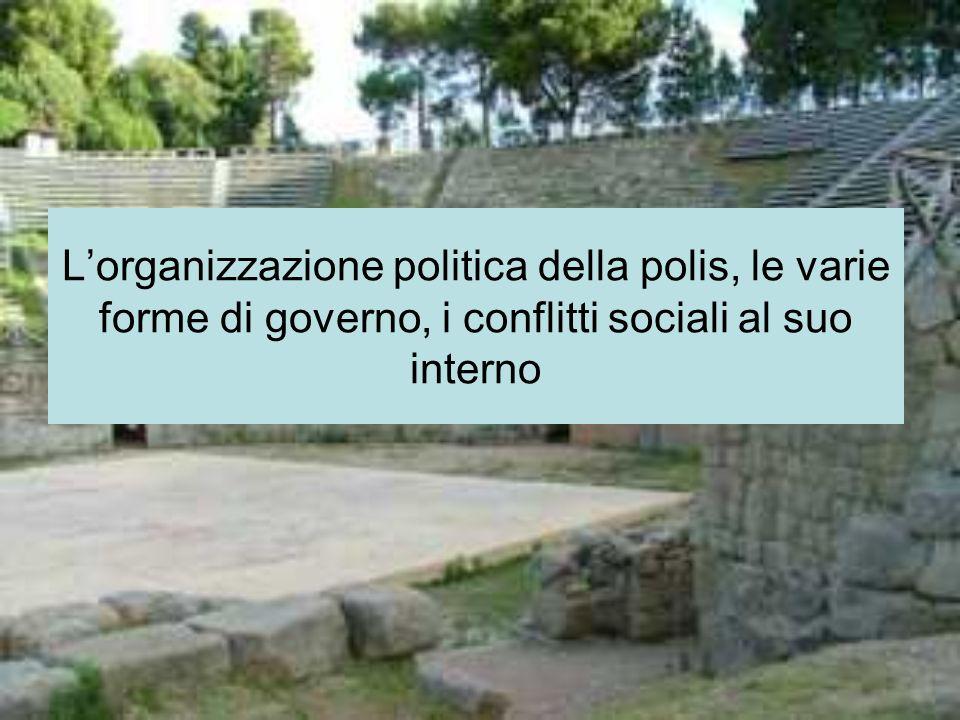 L'organizzazione politica della polis, le varie forme di governo, i conflitti sociali al suo interno