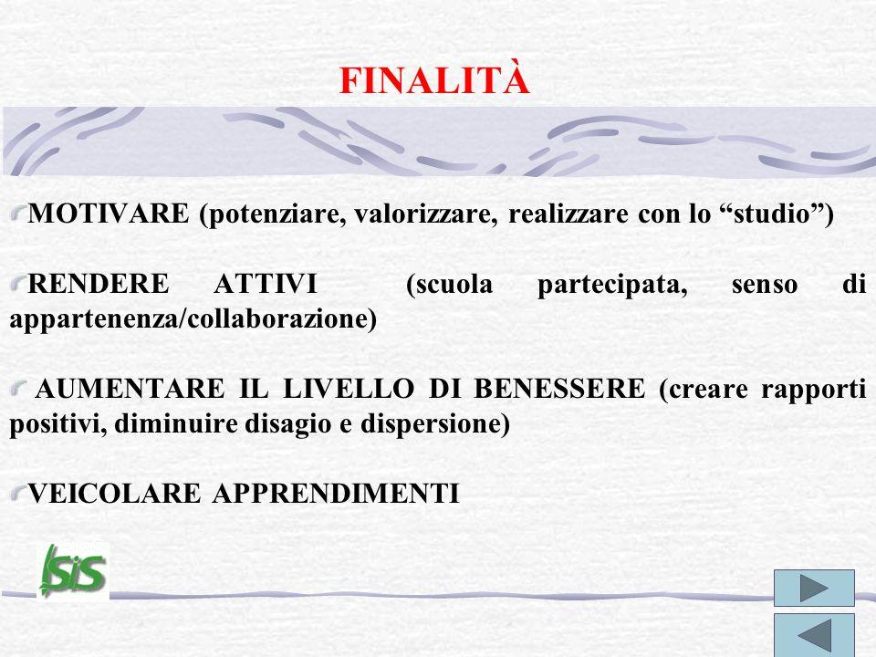 FINALITÀ MOTIVARE (potenziare, valorizzare, realizzare con lo studio ) RENDERE ATTIVI (scuola partecipata, senso di appartenenza/collaborazione)