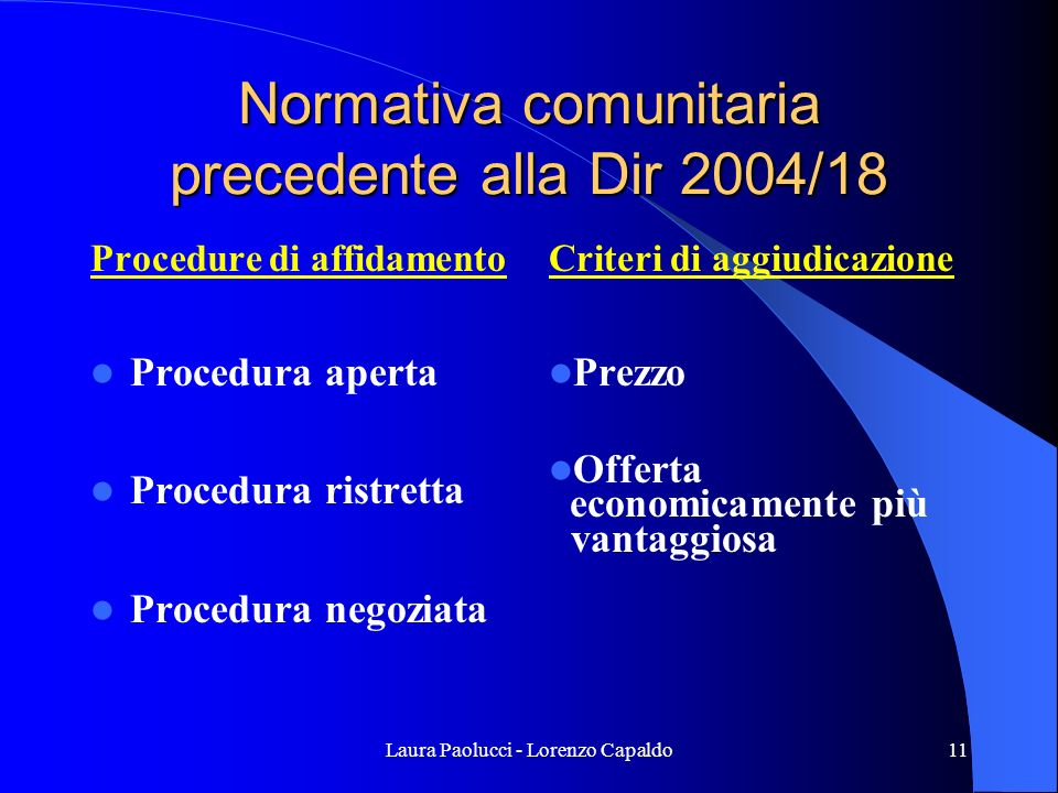 Normativa comunitaria precedente alla Dir 2004/18