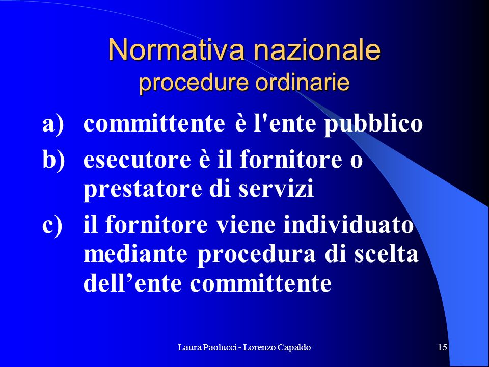 Normativa nazionale procedure ordinarie
