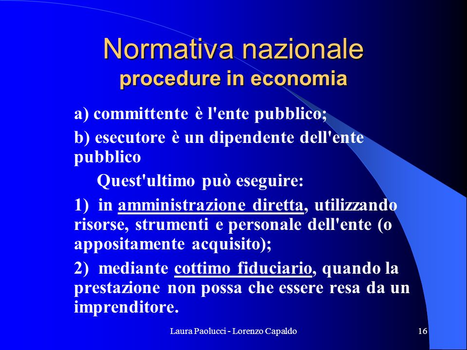 Normativa nazionale procedure in economia