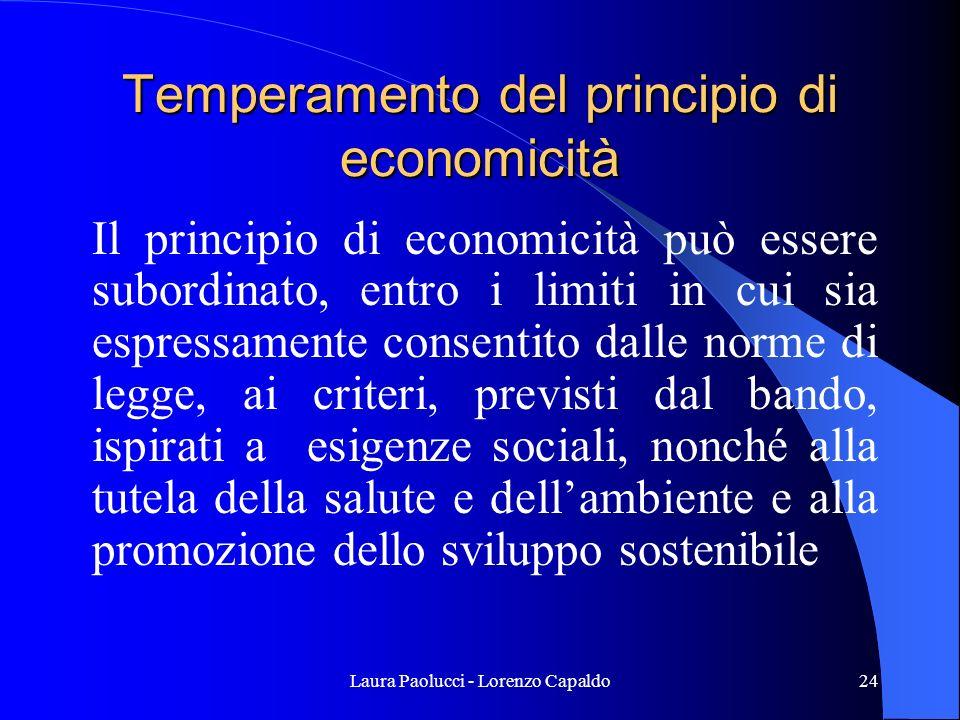Temperamento del principio di economicità