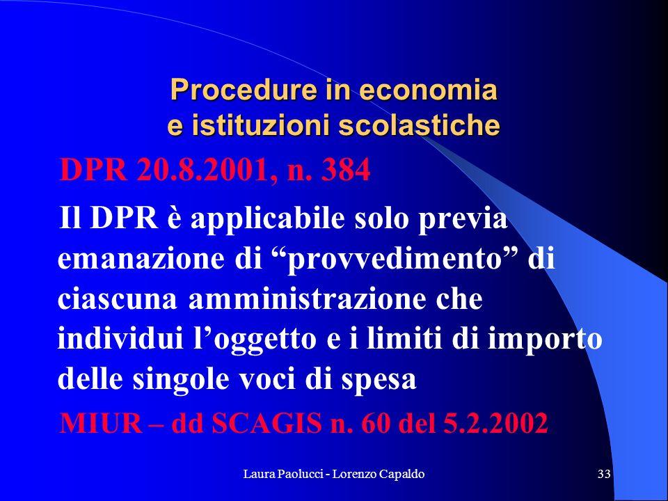 Procedure in economia e istituzioni scolastiche