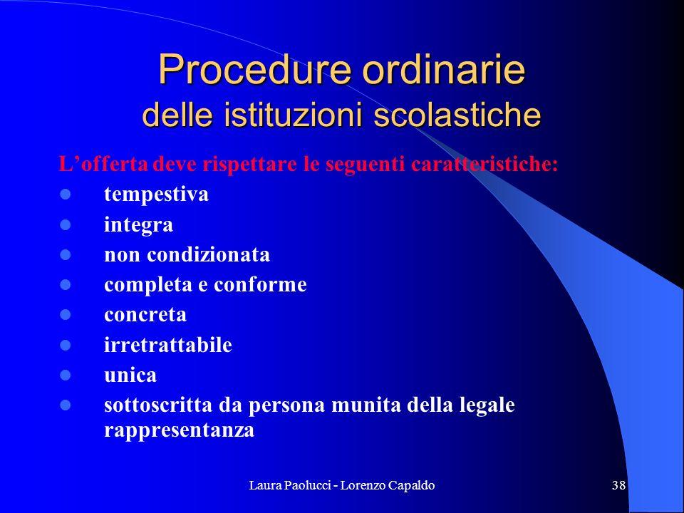 Procedure ordinarie delle istituzioni scolastiche