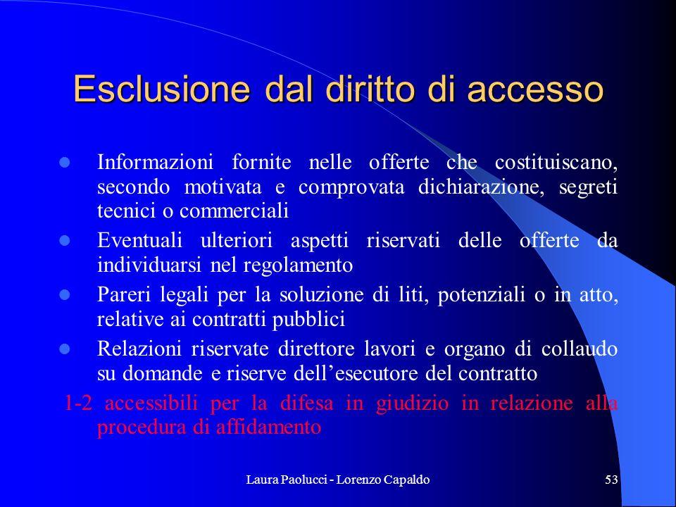 Esclusione dal diritto di accesso