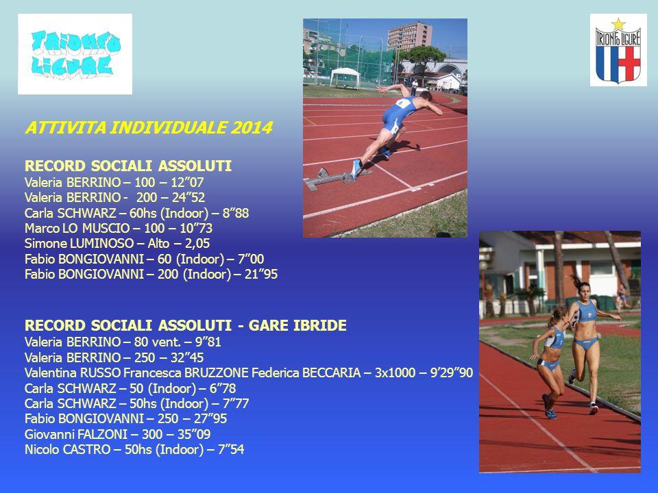 ATTIVITA INDIVIDUALE 2014 RECORD SOCIALI ASSOLUTI