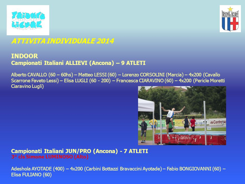 ATTIVITA INDIVIDUALE 2014 INDOOR