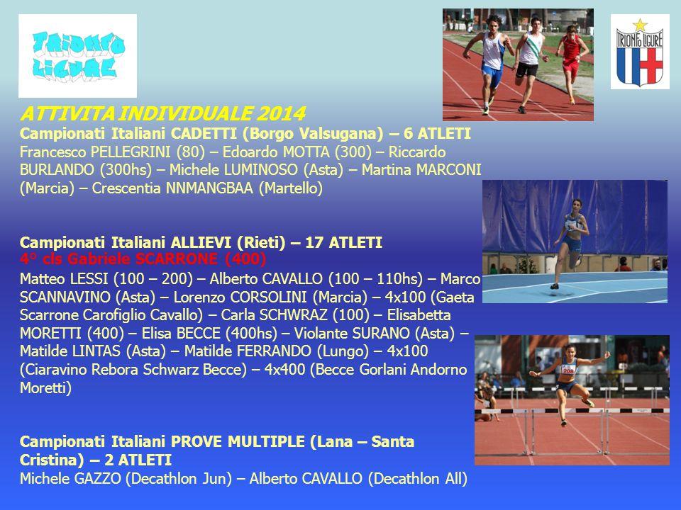 ATTIVITA INDIVIDUALE 2014 Campionati Italiani CADETTI (Borgo Valsugana) – 6 ATLETI.