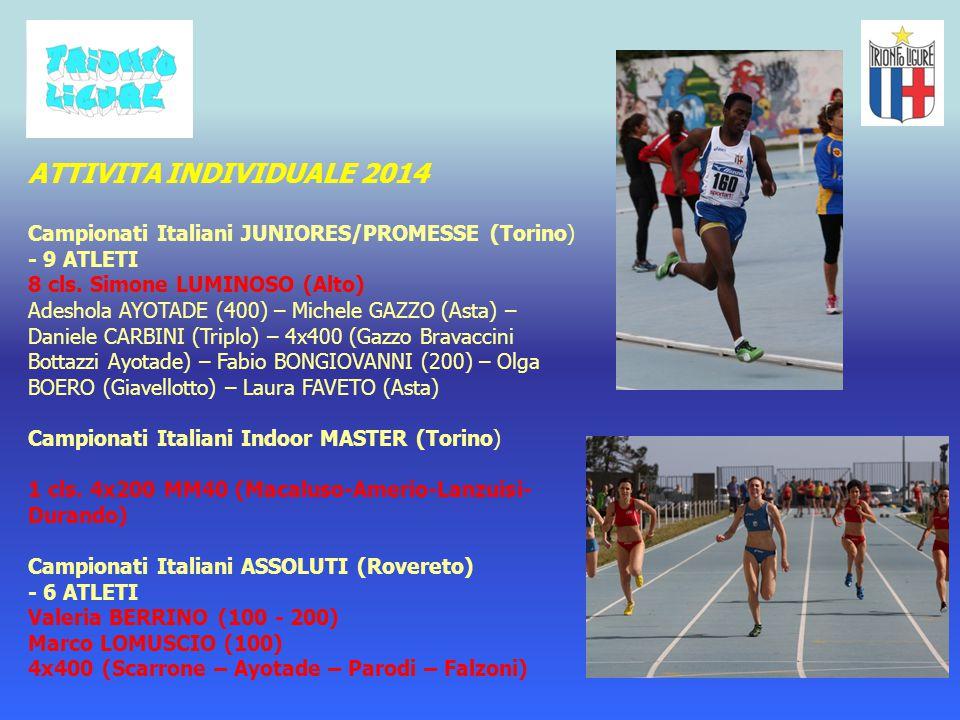 ATTIVITA INDIVIDUALE 2014 Campionati Italiani JUNIORES/PROMESSE (Torino) - 9 ATLETI. 8 cls. Simone LUMINOSO (Alto)