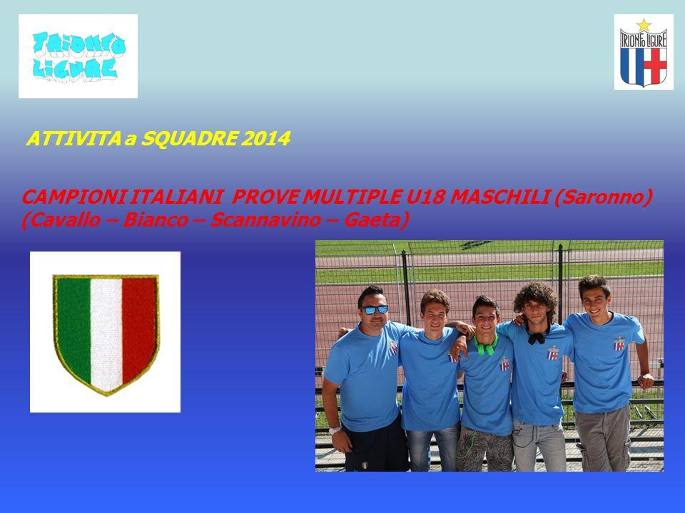 ATTIVITA a SQUADRE 2014 CAMPIONI ITALIANI PROVE MULTIPLE U18 MASCHILI (Saronno) (Cavallo – Bianco – Scannavino – Gaeta)