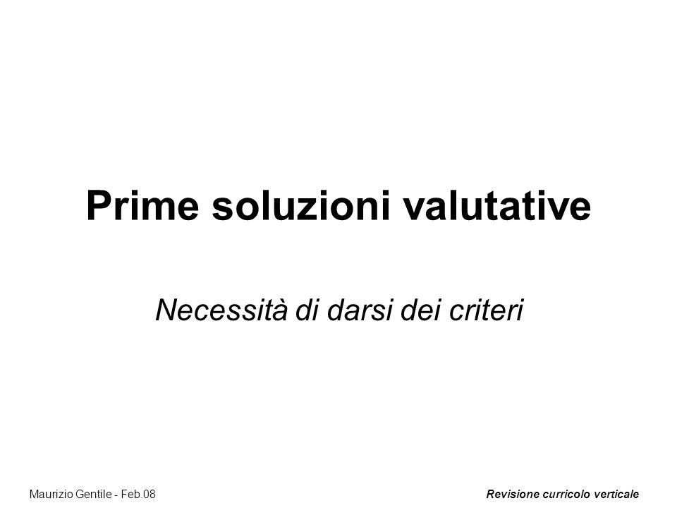 Prime soluzioni valutative