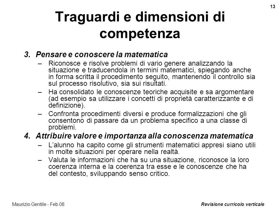 Traguardi e dimensioni di competenza