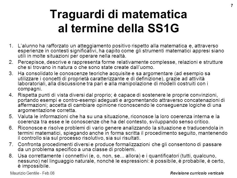 Traguardi di matematica al termine della SS1G