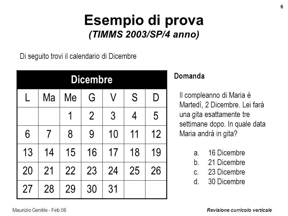Esempio di prova (TIMMS 2003/SP/4 anno)
