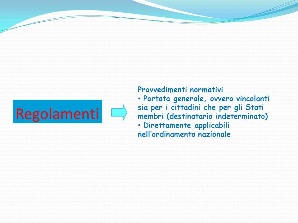 Regolamenti Provvedimenti normativi