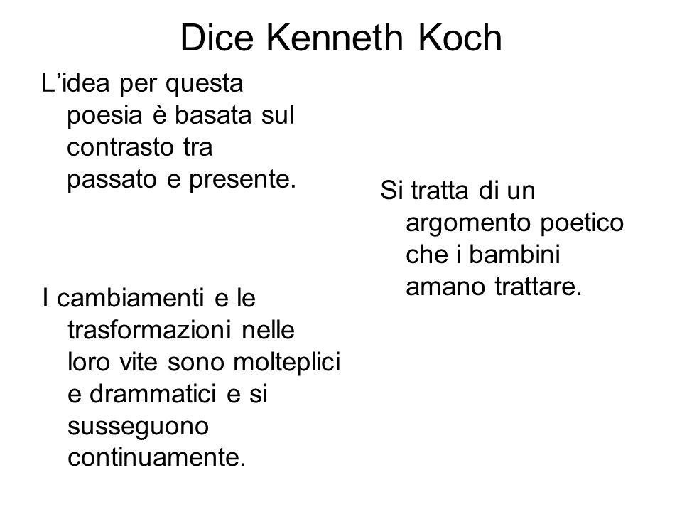 Dice Kenneth Koch L'idea per questa poesia è basata sul contrasto tra passato e presente.