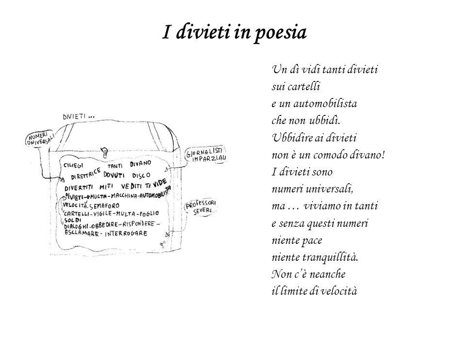 I divieti in poesia Un dì vidi tanti divieti sui cartelli