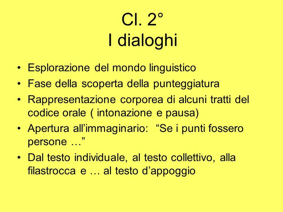 Cl. 2° I dialoghi Esplorazione del mondo linguistico