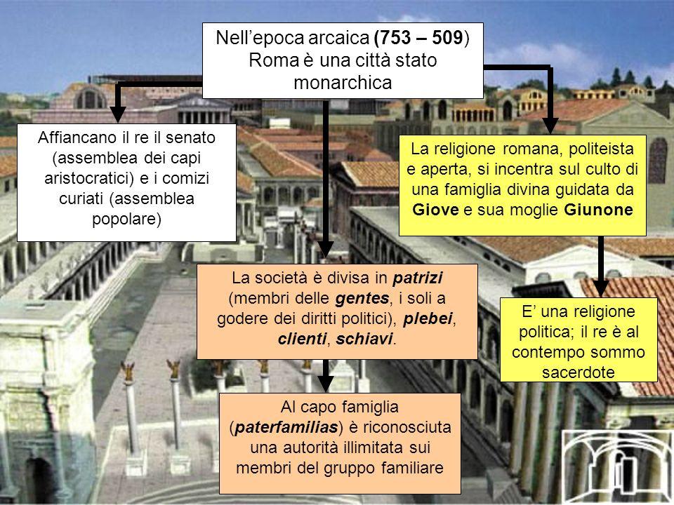 Nell'epoca arcaica (753 – 509) Roma è una città stato monarchica