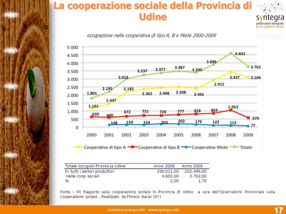 La cooperazione sociale della Provincia di Udine