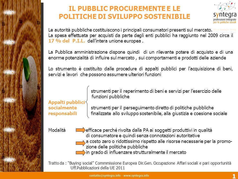 IL PUBBLIC PROCUREMENTE E LE POLITICHE DI SVILUPPO SOSTENIBILE