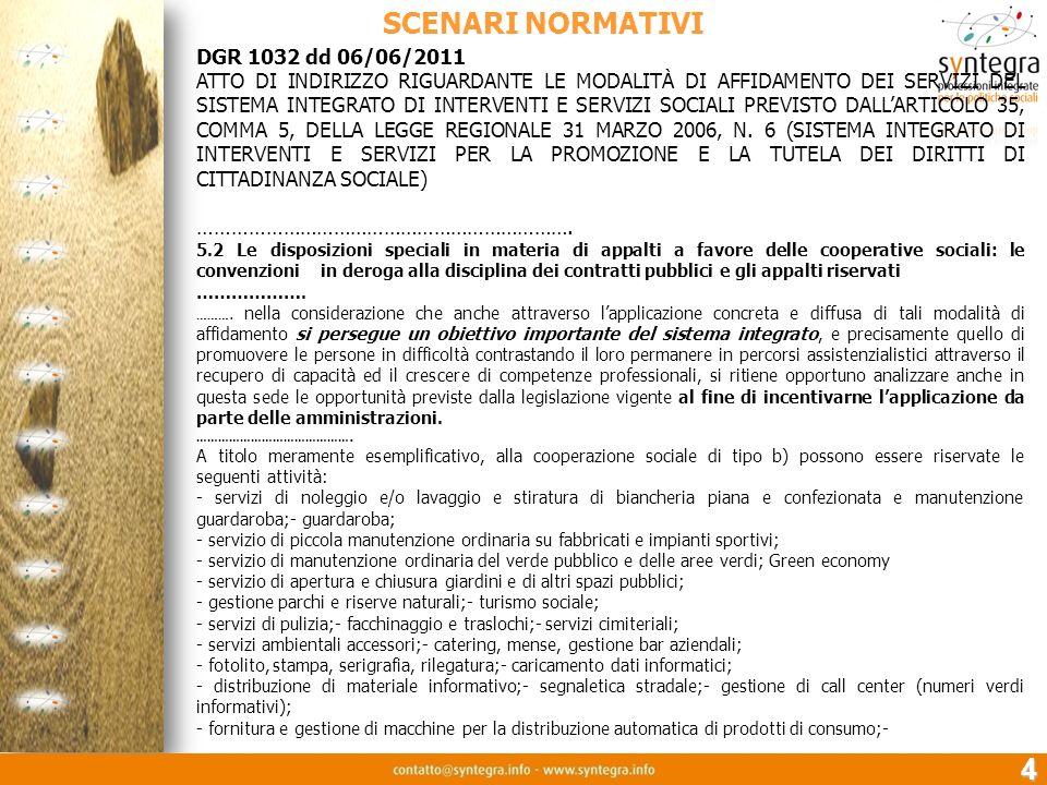 SCENARI NORMATIVI 4 DGR 1032 dd 06/06/2011