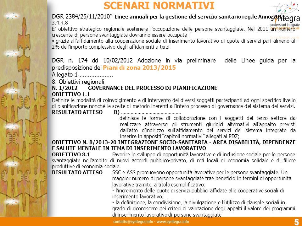 SCENARI NORMATIVI DGR 2384/25/11/2010 Linee annuali per la gestione del servizio sanitario reg.le Anno 2011.