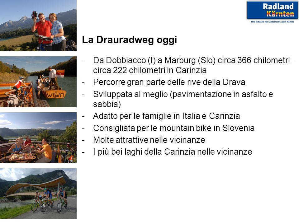 La Drauradweg oggi - Da Dobbiacco (I) a Marburg (Slo) circa 366 chilometri – circa 222 chilometri in Carinzia.