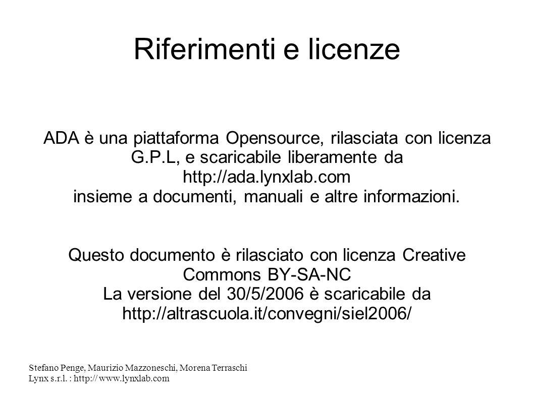 Riferimenti e licenze ADA è una piattaforma Opensource, rilasciata con licenza G.P.L, e scaricabile liberamente da.