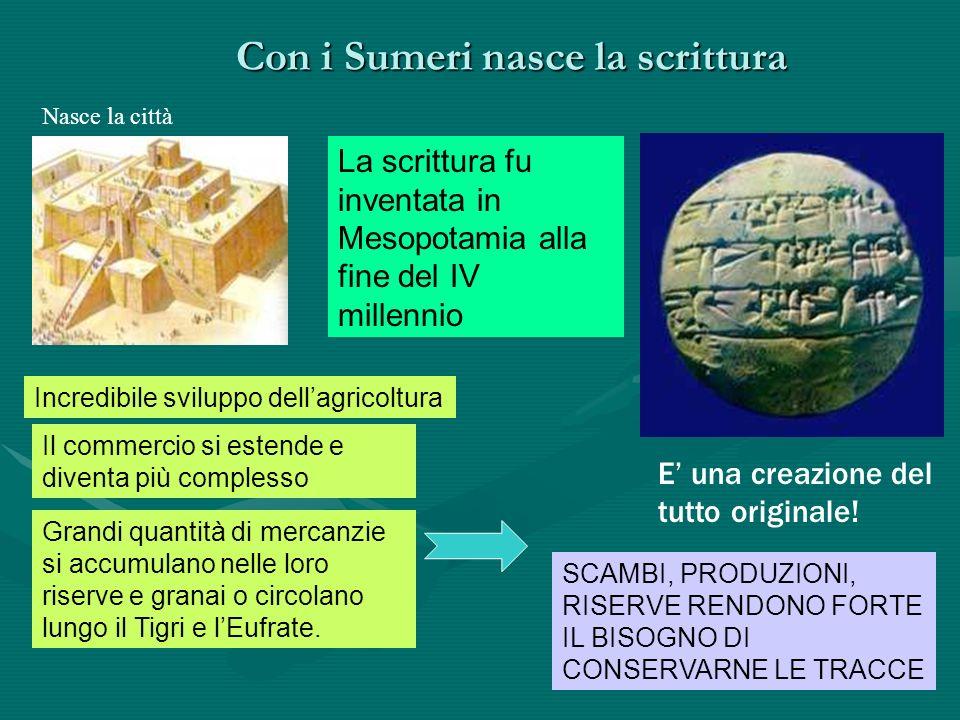 Con i Sumeri nasce la scrittura