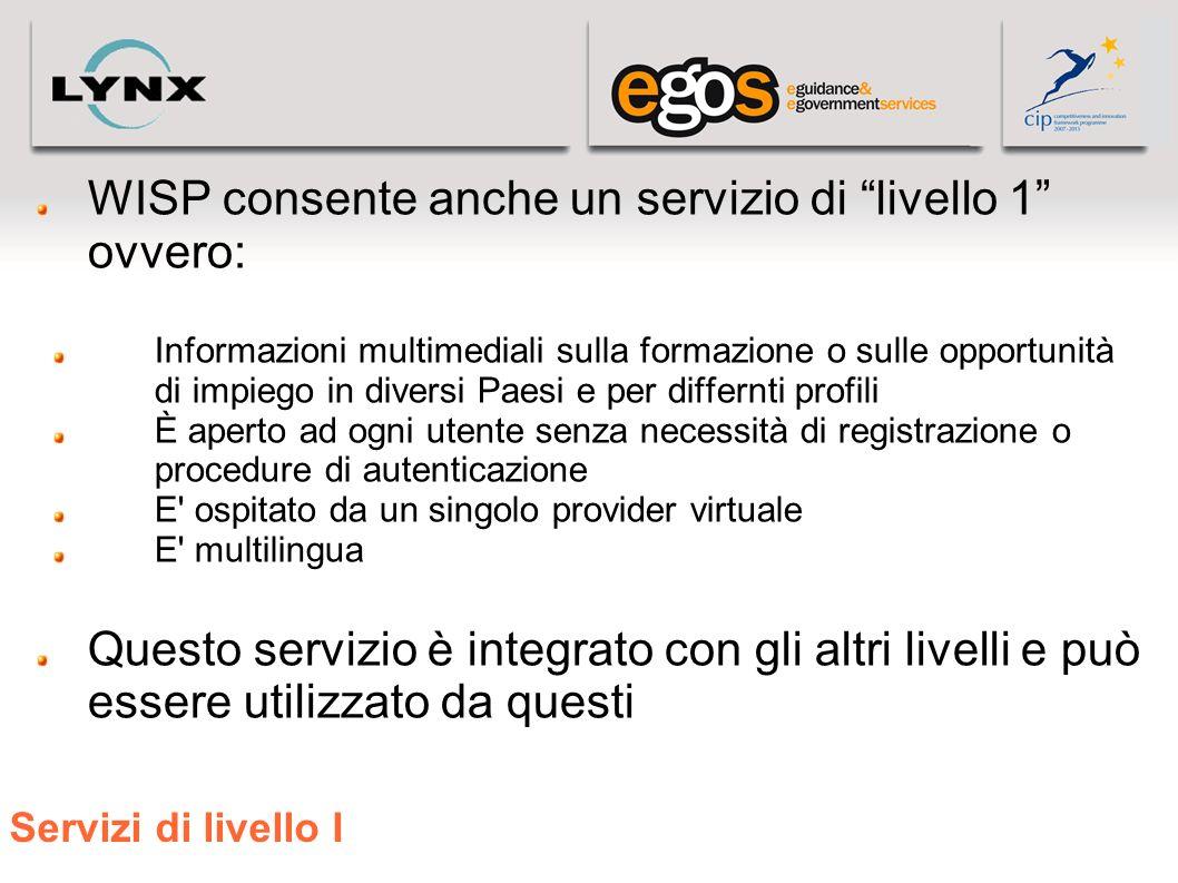 WISP consente anche un servizio di livello 1 ovvero: