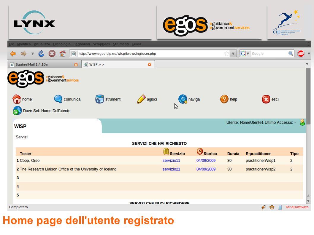 Home page dell utente registrato