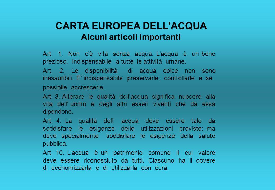 CARTA EUROPEA DELL'ACQUA Alcuni articoli importanti