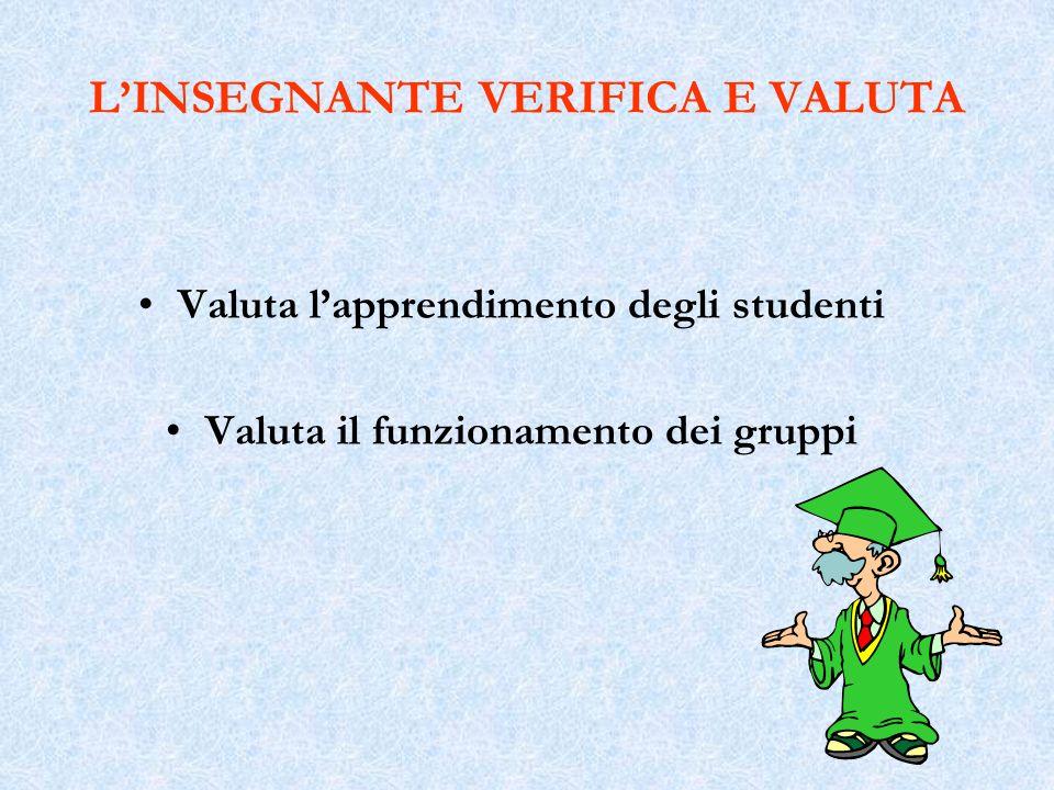 L'INSEGNANTE VERIFICA E VALUTA