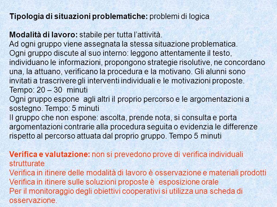 Tipologia di situazioni problematiche: problemi di logica