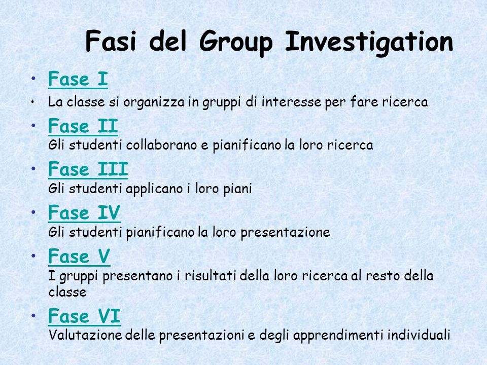 Fasi del Group Investigation