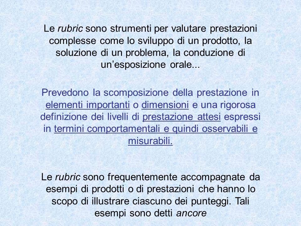 Le rubric sono strumenti per valutare prestazioni complesse come lo sviluppo di un prodotto, la soluzione di un problema, la conduzione di un'esposizione orale...