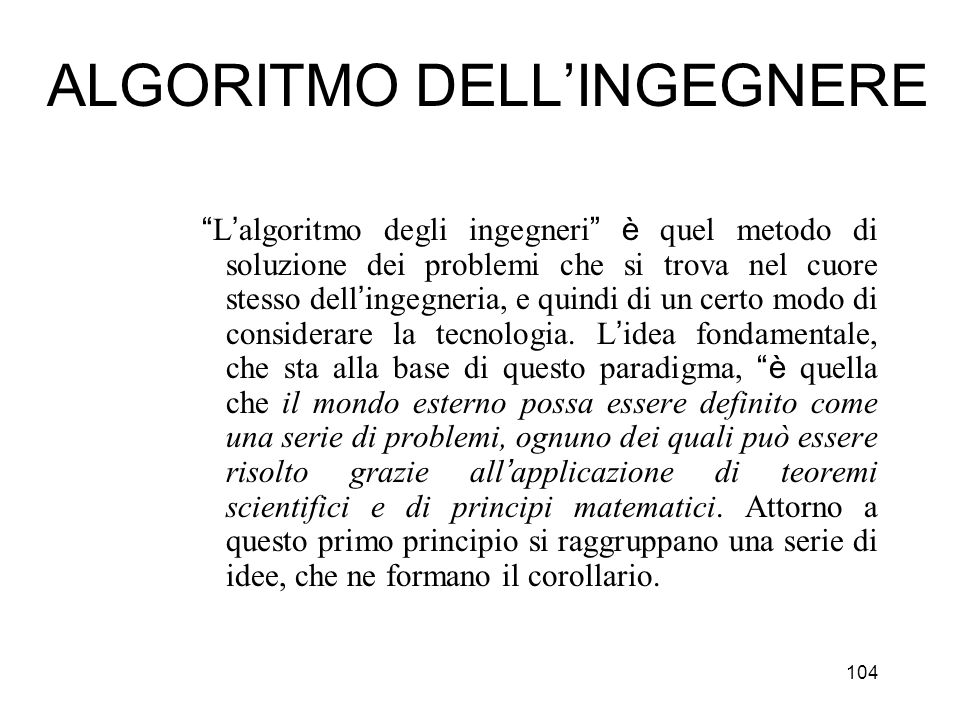 ALGORITMO DELL'INGEGNERE