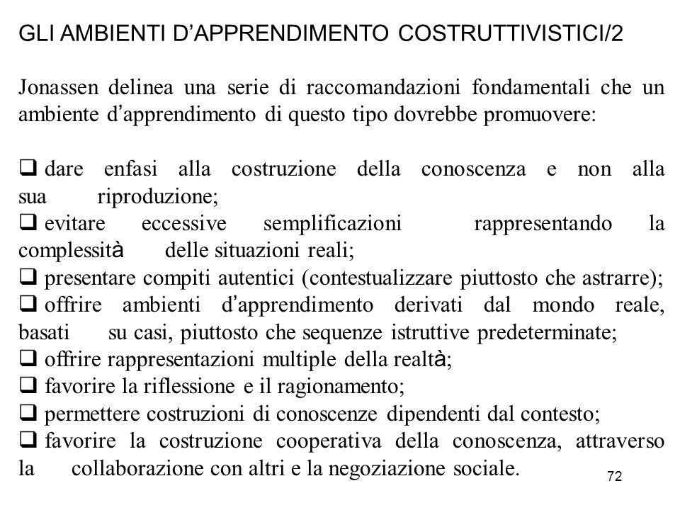 GLI AMBIENTI D'APPRENDIMENTO COSTRUTTIVISTICI/2