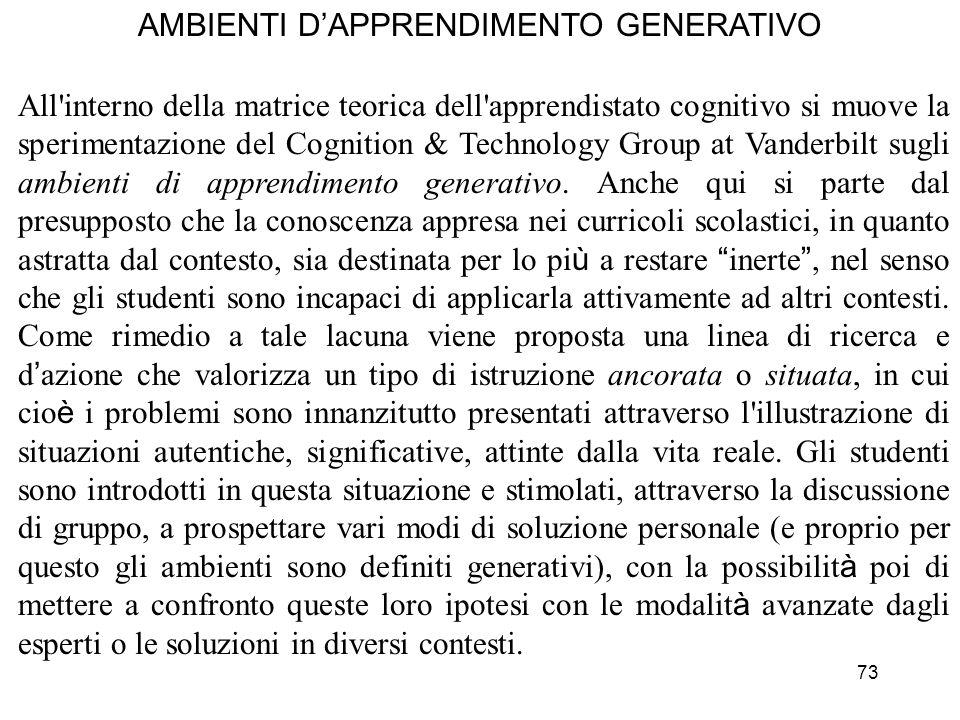 AMBIENTI D'APPRENDIMENTO GENERATIVO